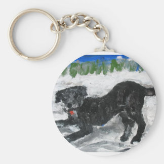 Archie Romping in the Snow by Anne K Abbott Key Chains