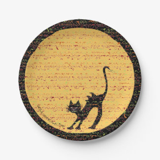 Arching Black Cat and Full Moon Festive Paper Plate
