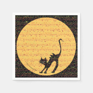 Arching Black Cat and Full Moon Halloween Party Disposable Napkins