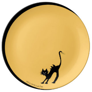 Arching Black Cat and Full Moon Plate