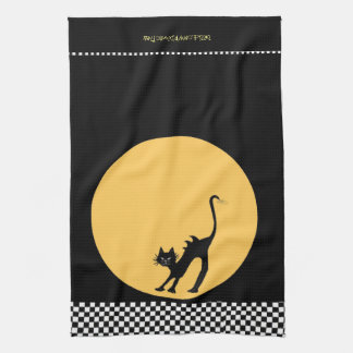 Arching Black Cat and Full Moon Tea Towel