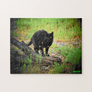Arching Black Cat on Driftwood Jigsaw Puzzle