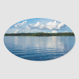 Archipelago on the Baltic Sea coast in Sweden Oval Sticker