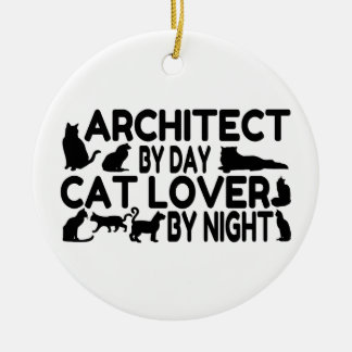Architect Cat Lover Ceramic Ornament