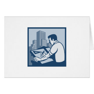 Architect Draftsman Drawing Buildings Retro Card