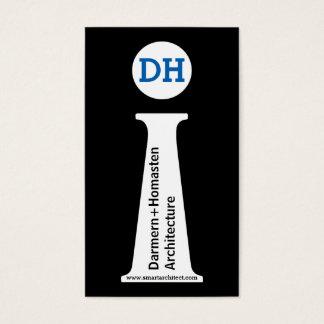 Architect modern black, white, blue monogram business card