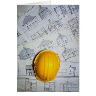 Architect's cap and plans card