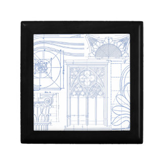 Architectural Blueprints Small Square Gift Box