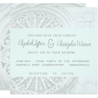 Architectural Grey and Faint Blue Wedding Invite