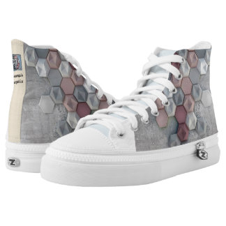 Architectural hexagons Unisex High Top Shoes Printed Shoes