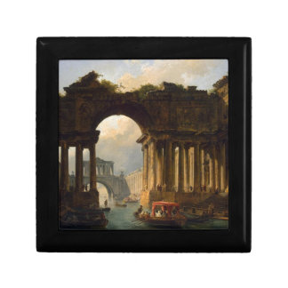 Architectural Landscape with a Canal by Hubert Small Square Gift Box