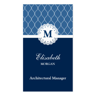 Architectural Manager Elegant Blue Lace Pattern Pack Of Standard Business Cards