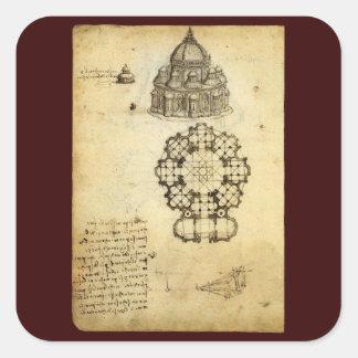 Architectural Sketch by Leonardo da Vinci Stickers