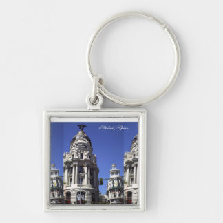 Architecture, Blue Skies, Buildings, Churches Silver-Colored Square Key Ring