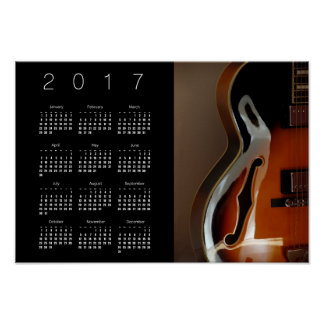 Archtop Guitar Calendar Poster 2017