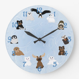 Arctic Alaska Animals Large Clock