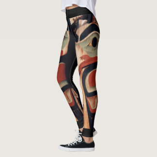 Arctic Alaska Carved Wood Totem Pole Designed Leggings