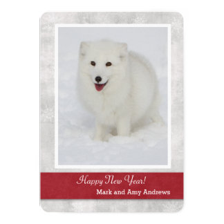 Arctic Fox Happy New Year's Card