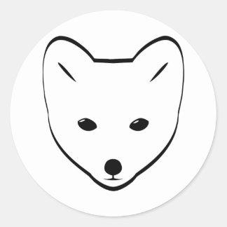 Arctic Fox Head Classic Round Sticker