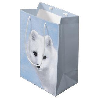 Arctic Fox Painting - Original Wildlife Art Medium Gift Bag
