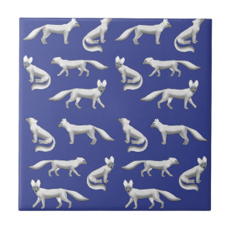 Arctic fox selection ceramic tile