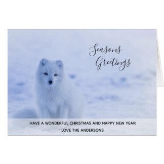 Arctic Fox Winter Snow Xmas Photo Personalized Card