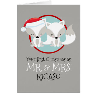 Arctic Foxes Your First Christmas As Mr and Mrs Card