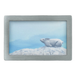 Arctic hare, lepus arcticus, or polar rabbit belt buckles