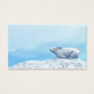 Arctic hare, lepus arcticus, or polar rabbit business card