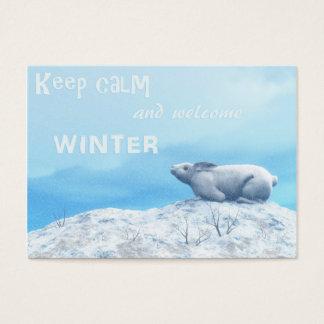 Arctic hare, lepus arcticus, or polar rabbit business card