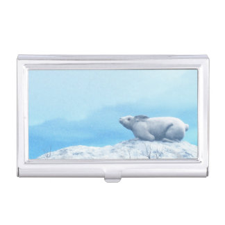 Arctic hare, lepus arcticus, or polar rabbit business card holder