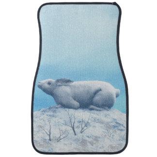 Arctic hare, lepus arcticus, or polar rabbit car mat