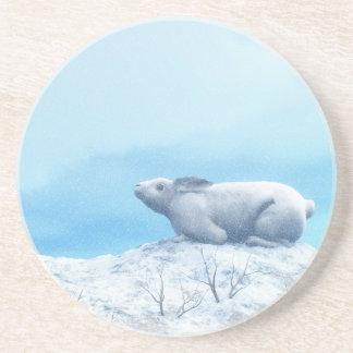 Arctic hare, lepus arcticus, or polar rabbit coaster