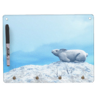 Arctic hare, lepus arcticus, or polar rabbit dry erase board with key ring holder