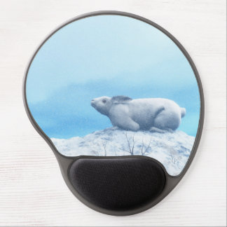 Arctic hare, lepus arcticus, or polar rabbit gel mouse pad