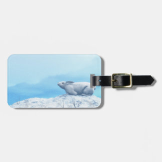 Arctic hare, lepus arcticus, or polar rabbit luggage tag