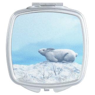 Arctic hare, lepus arcticus, or polar rabbit makeup mirror