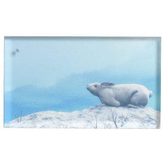 Arctic hare, lepus arcticus, or polar rabbit place card holder