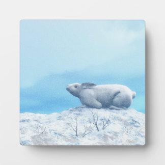 Arctic hare, lepus arcticus, or polar rabbit plaque