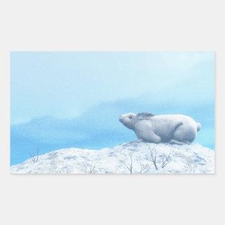 Arctic hare, lepus arcticus, or polar rabbit rectangular sticker