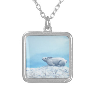 Arctic hare, lepus arcticus, or polar rabbit silver plated necklace