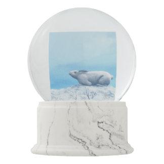 Arctic hare, lepus arcticus, or polar rabbit snow globe