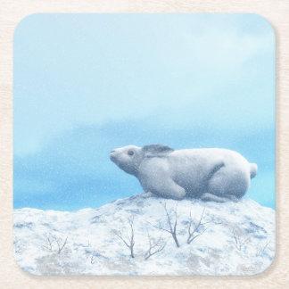 Arctic hare, lepus arcticus, or polar rabbit square paper coaster