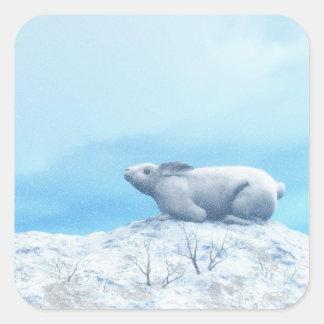 Arctic hare, lepus arcticus, or polar rabbit square sticker