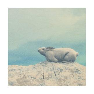 Arctic hare, lepus arcticus, or polar rabbit wood canvases