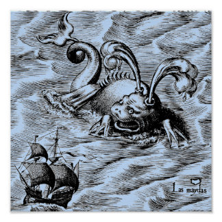 Arctic Sea Monster and Sailing Ship Poster