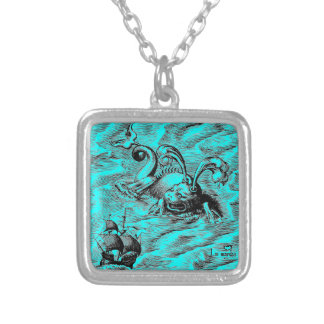 Arctic Sea Monster and Sailing Ship Silver Plated Necklace