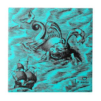 Arctic Sea Monster and Sailing Ship Tile