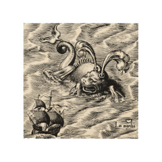Arctic Sea Monster and Sailing Ship World Map Wood Print