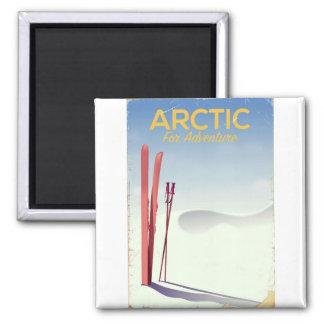 Arctic ski vintage adventure exploration poster magnet